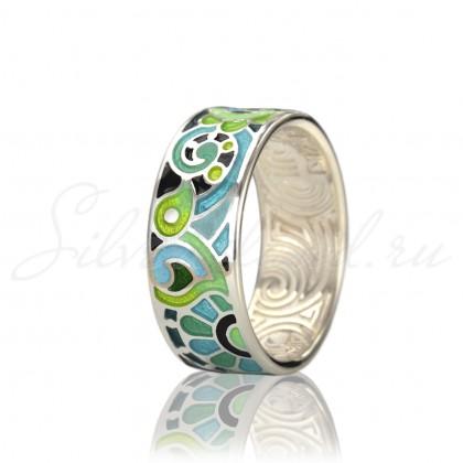 купить кольцо с эмалью из золота и серебра мармелад1102r