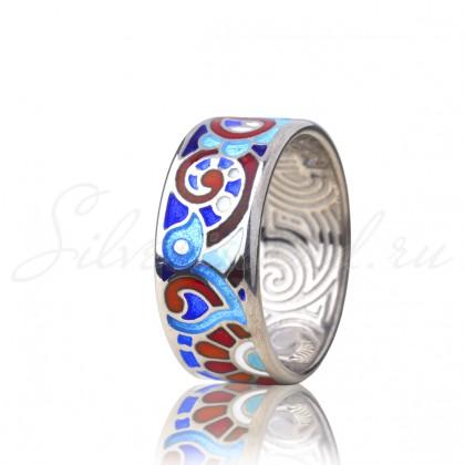 купить кольцо с эмалью из золота и серебра мармелад1104r