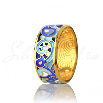 купить кольцо с эмалью из золота и серебра мармелад1201r