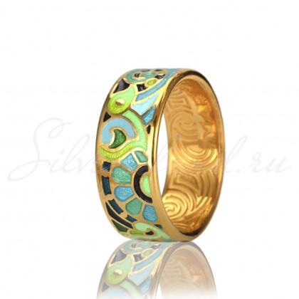 купить кольцо с эмалью из золота и серебра мармелад1202r