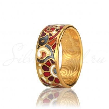 купить кольцо с эмалью из золота и серебра мармелад1203r
