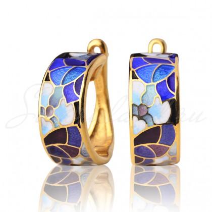 купить серьги с эмалью из золота и серебра мармелад204