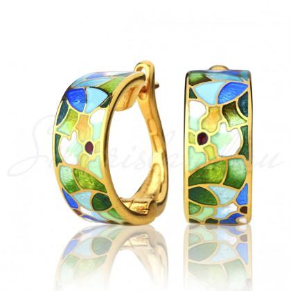 купить серьги с эмалью из золота и серебра мармелад206