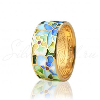 купить кольцо с эмалью из золота и серебра мармелад206r
