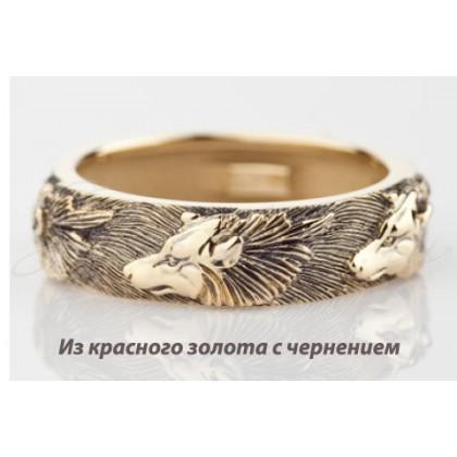 кольцо Волки из золота 585 пробы