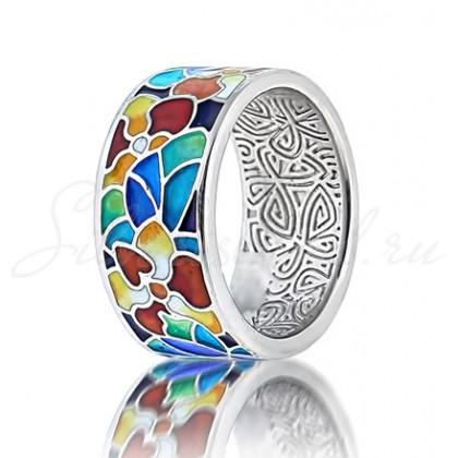купить кольцо с эмалью из золота и серебра мармелад101r