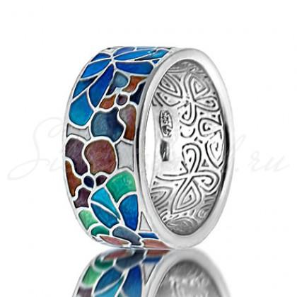 купить кольцо с эмалью из золота и серебра мармелад103r