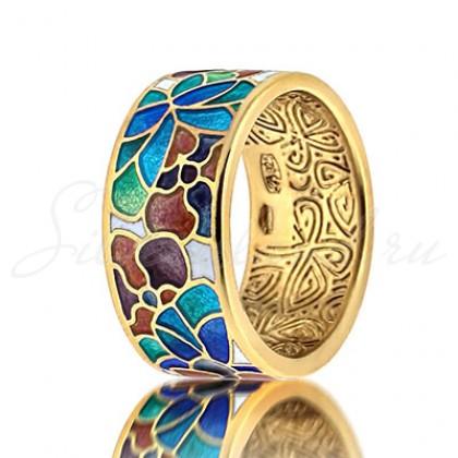 купить кольцо с эмалью из золота и серебра мармелад203r