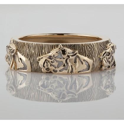 Кольцо Тигры золото 585 пробы