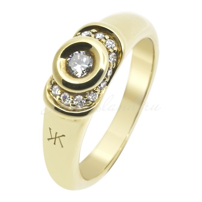 Кольцо с кварцом из желтого золота Эстет. Золотое кольцо с бриллиантами Korloff