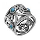 купить кольцо с бирюзой из серебра дено