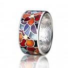 купить кольцо с эмалью из золота и серебра мармелад105r