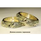 кольцо волки купить с чернением из желтого золота