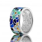 купить кольцо с эмалью из золота и серебра мармелад102r