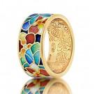 купить кольцо с эмалью из золота и серебра мармелад201r